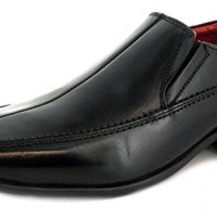 New-MensGents-Black-Leather-Slip-On-Formal-Shoes-Wider-Fitting-BlackRed-Lining-UK-SIZE-10-0